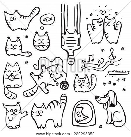 Scetched doodle black and white cats. Emoticat collection hand drawn imitation