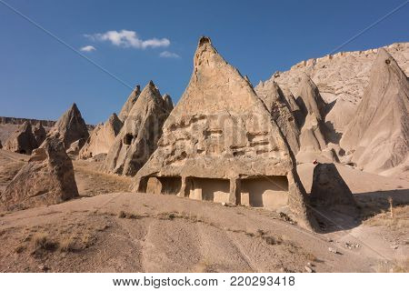 View of Cappadocia. Turkey. A geological formation consisting of volcanic tuff with cave dwelling. Cave monastery in Goreme Central Anatolia.