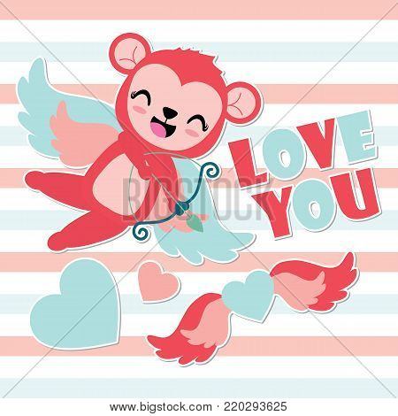 Cute cupid monkey archery heart wings vector cartoon illustration for Happy Valentine card design, postcard, and wallpaper