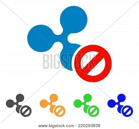 Cancel Ripple icon. Vector illustration style is a flat iconic cancel ripple symbol with gray, yellow, green, blue color variants. Designed for web and software interfaces.