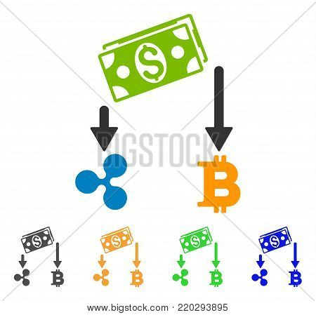 Cryptocurrency Cashflow icon. Vector illustration style is a flat iconic cryptocurrency cashflow symbol with gray, yellow, green, blue color versions. Designed for web and software interfaces.