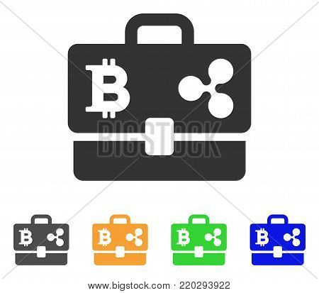 Cryptocurrency Portfolio icon. Vector illustration style is a flat iconic cryptocurrency portfolio symbol with grey, yellow, green, blue color variants. Designed for web and software interfaces.