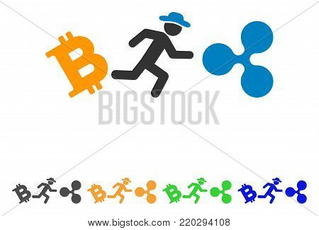 Gentleman Run From Bitcoin To Ripple icon. Vector illustration style is a flat iconic gentleman run from bitcoin to ripple symbol with gray, yellow, green, blue color variants.