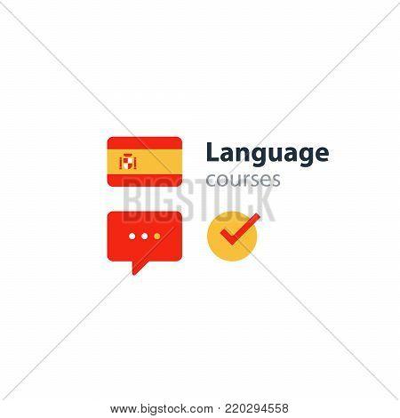 Spanish lenguage flag icon and logo. linguistics class, speech bubble, exchange concept. Flat design vector illustration