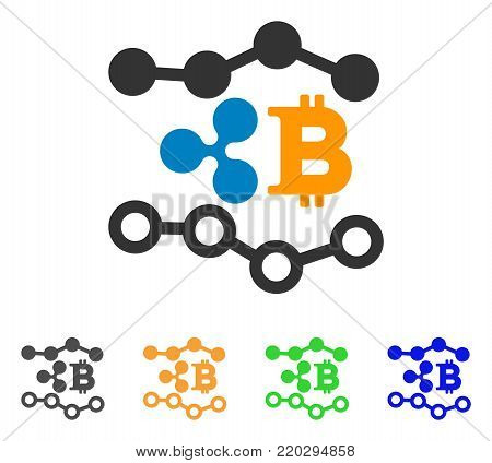 Ripple Bitcoin Trends icon. Vector illustration style is a flat iconic ripple bitcoin trends symbol with gray, yellow, green, blue color versions. Designed for web and software interfaces.