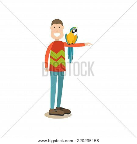 Vector illustration of man holding parrot on his hand, playing with his pet tropical bird. Pet owner or parrot trainer and his cockatoo flat style design element, icon isolated on white background.