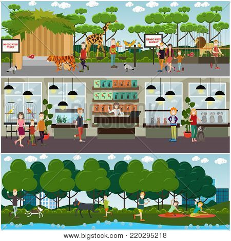 Vector set of pets and zoo animals posters, banners. Walking dog in the park, pet shop and zoo interior with domestic and wild animals, visitors. Flat style design.
