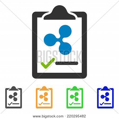 Ripple Contract Pad icon. Vector illustration style is a flat iconic ripple contract pad symbol with grey, yellow, green, blue color variants. Designed for web and software interfaces.