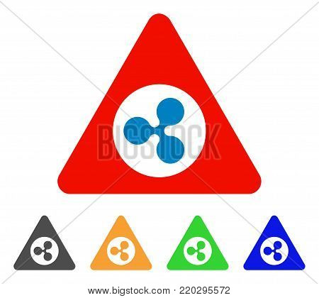 Ripple Danger icon. Vector illustration style is a flat iconic ripple danger symbol with gray, yellow, green, blue color versions. Designed for web and software interfaces.