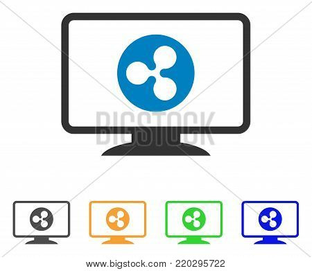 Ripple Display icon. Vector illustration style is a flat iconic ripple display symbol with grey, yellow, green, blue color variants. Designed for web and software interfaces.