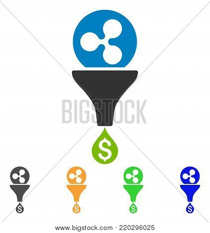 Ripple Dollar Sales Funnel icon. Vector illustration style is a flat iconic ripple dollar sales funnel symbol with gray, yellow, green, blue color variants. Designed for web and software interfaces.