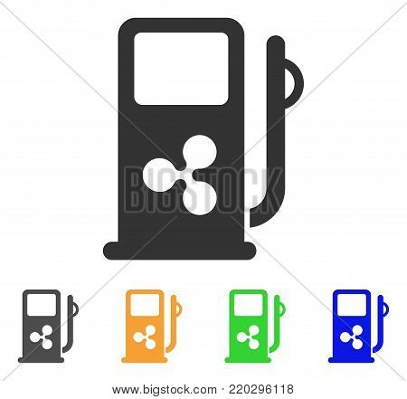 Ripple Fuel Station icon. Vector illustration style is a flat iconic ripple fuel station symbol with gray, yellow, green, blue color variants. Designed for web and software interfaces.