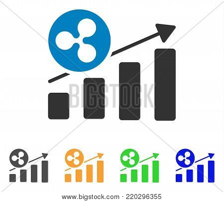Ripple Growing Bar Chart icon. Vector illustration style is a flat iconic ripple growing bar chart symbol with gray, yellow, green, blue color versions. Designed for web and software interfaces.