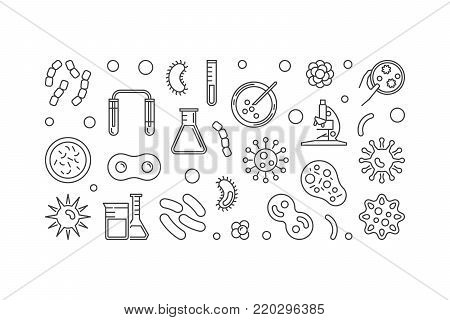 Virus linear illustration or horizontal banner made with viruses concept icons