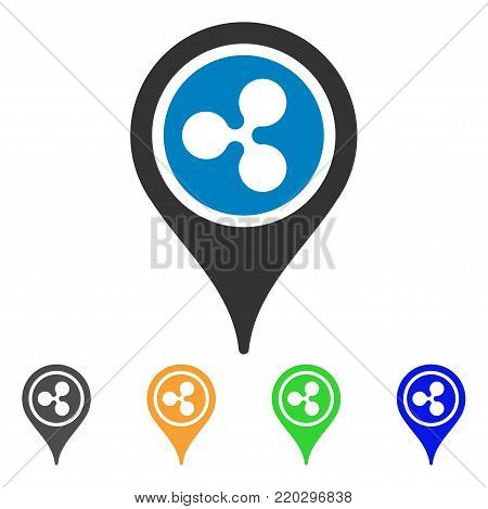 Ripple Map Pointer icon. Vector illustration style is a flat iconic ripple map pointer symbol with grey, yellow, green, blue color versions. Designed for web and software interfaces.