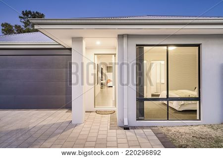Close up of front elevation of modern family home in Australia.