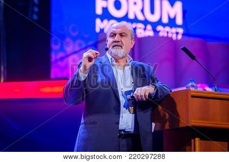 Moscow, Russia - November 27, 2017: Nassim Nicholas Taleb speaks at Global Synergy Forum 2017. He is a Lebanese-American essayist, scholar, statistician, former trader, and risk analyst