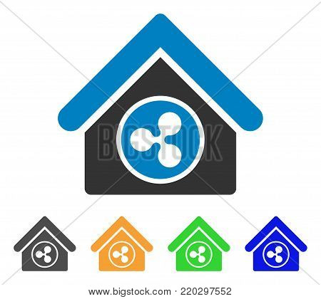 Ripple Realty icon. Vector illustration style is a flat iconic ripple realty symbol with gray, yellow, green, blue color versions. Designed for web and software interfaces.