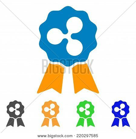 Ripple Reward Ribbons icon. Vector illustration style is a flat iconic ripple reward ribbons symbol with grey, yellow, green, blue color variants. Designed for web and software interfaces.