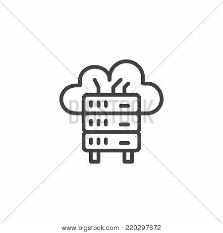 Database line icon, outline vector sign, linear style pictogram isolated on white. Cloud network server symbol, logo illustration. Editable stroke