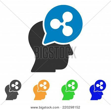Ripple Thinking Head Balloon icon. Vector illustration style is a flat iconic ripple thinking head balloon symbol with grey, yellow, green, blue color variants.