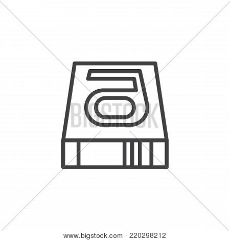 Hard disk line icon, outline vector sign, linear style pictogram isolated on white. HDD symbol, logo illustration. Editable stroke
