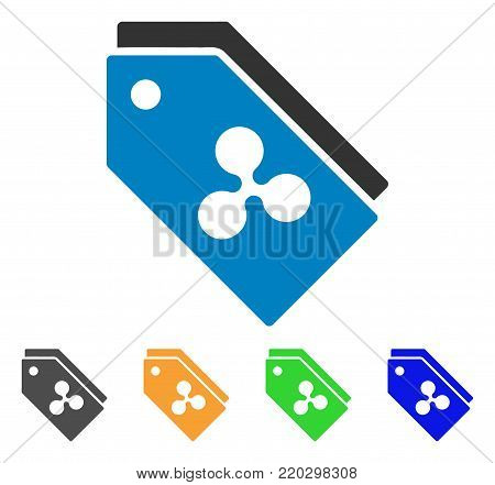 Ripple Tokens icon. Vector illustration style is a flat iconic ripple tokens symbol with grey, yellow, green, blue color variants. Designed for web and software interfaces.