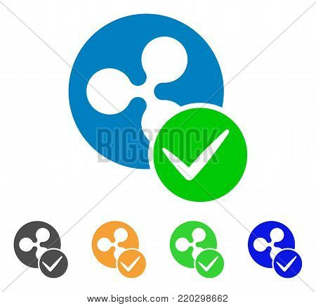 Valid Ripple Coin icon. Vector illustration style is a flat iconic valid ripple coin symbol with gray, yellow, green, blue color versions. Designed for web and software interfaces.