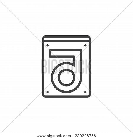 Hard drive disk line icon, outline vector sign, linear style pictogram isolated on white. HDD symbol, logo illustration. Editable stroke