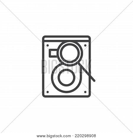 Search hard drive disk line icon, outline vector sign, linear style pictogram isolated on white. HDD with magnifier symbol, logo illustration. Editable stroke