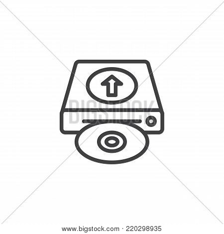 Upload hard drive disk line icon, outline vector sign, linear style pictogram isolated on white. HDD upload symbol, logo illustration. Editable stroke