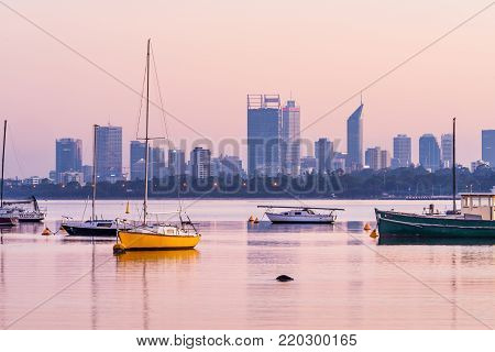 Sunrise over the Swan River and Perth City, Western Australia, Australia. Photographed: April 5th, 2017.