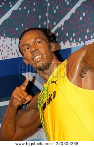 London, - United Kingdom, 08, July 2014. Madame Tussauds in London. Waxwork statue of Usain Bolt