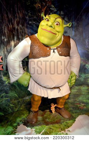 London, - United Kingdom, 08, July 2014. Madame Tussauds in London. Waxwork statue of Shrek.