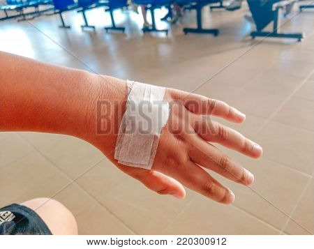 Health Care Background Man Accident Arm And Leg With Bandage. Image For Hospital, Healthy, Danger, P