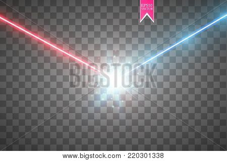 Collision of two forces with red and blue light. Vector illustration. Hot and cold sparkling power. Energy lightning with electric discharge. Vector