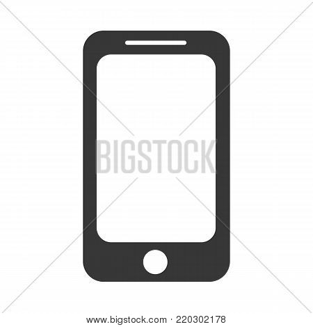 Icon design of black modern phone. Technology object, communication mobile device. Touchscreen portable cellphone