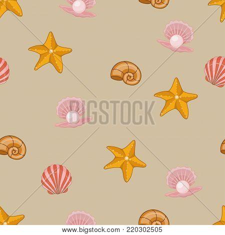 Sea shells, seastars seamless background. seamless pattern for textile, print, wallpaper. Sea life pattern.