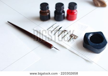 Photo shows variety of removable iron feathers for pen, with help of which they write with calligraphic font on white table in art studio. Concept of fine arts and bright colors, beautiful writing, calligraphy and lettering, materials and tools, craftsman