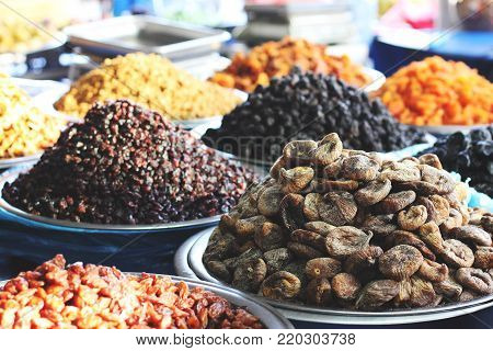 Dried figs, raisins and dried fruits at the east market