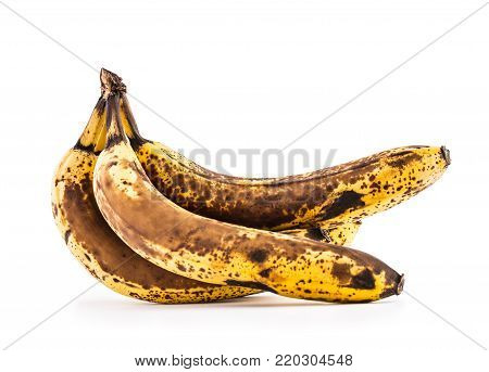 Banana. Over Ripe Bananas Isolated On White With Shadows