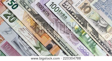 Background of the banknotes of various currencies.