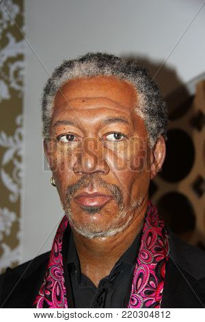 London, - United Kingdom, 08, July 2014. Madame Tussauds in London. Waxwork statue of Morgan Freeman.