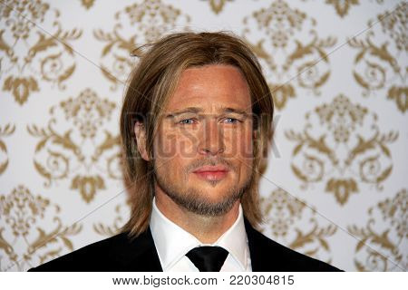London, - United Kingdom, 08, July 2014. Madame Tussauds in London. Waxwork statue of Brad Pitt.