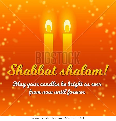 Shabbat shalom vector photo free trial bigstock shabbat shalom lettering greeting card vector illustration two burning shabbat candles and orange m4hsunfo