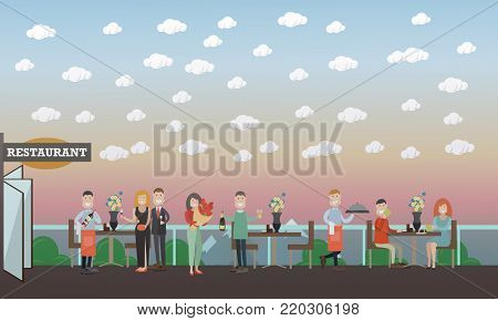 Vector illustration of happy couples dating, having dinner at restaurant. Pairs of lovers watching sunset. People and relations concept flat style design elements.