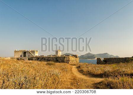 Methoni, Greece 9 August 2017. Methoni castle in Greece Peloponnese.