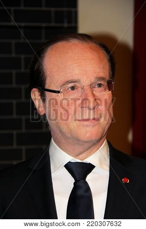 London, - United Kingdom, 08, July 2014. Madame Tussauds in London. Waxwork statue of François Hollande