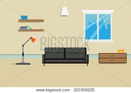 interior living room design relax with sofa Bookshelf and window. vector illustration