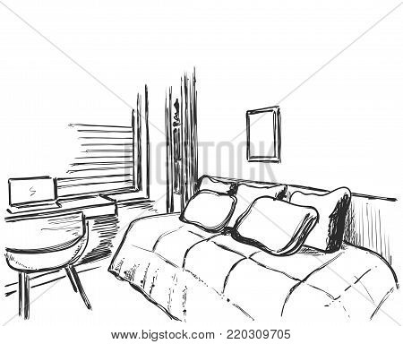 Hand drawn interior sketch. Comfortable sofa and blanket